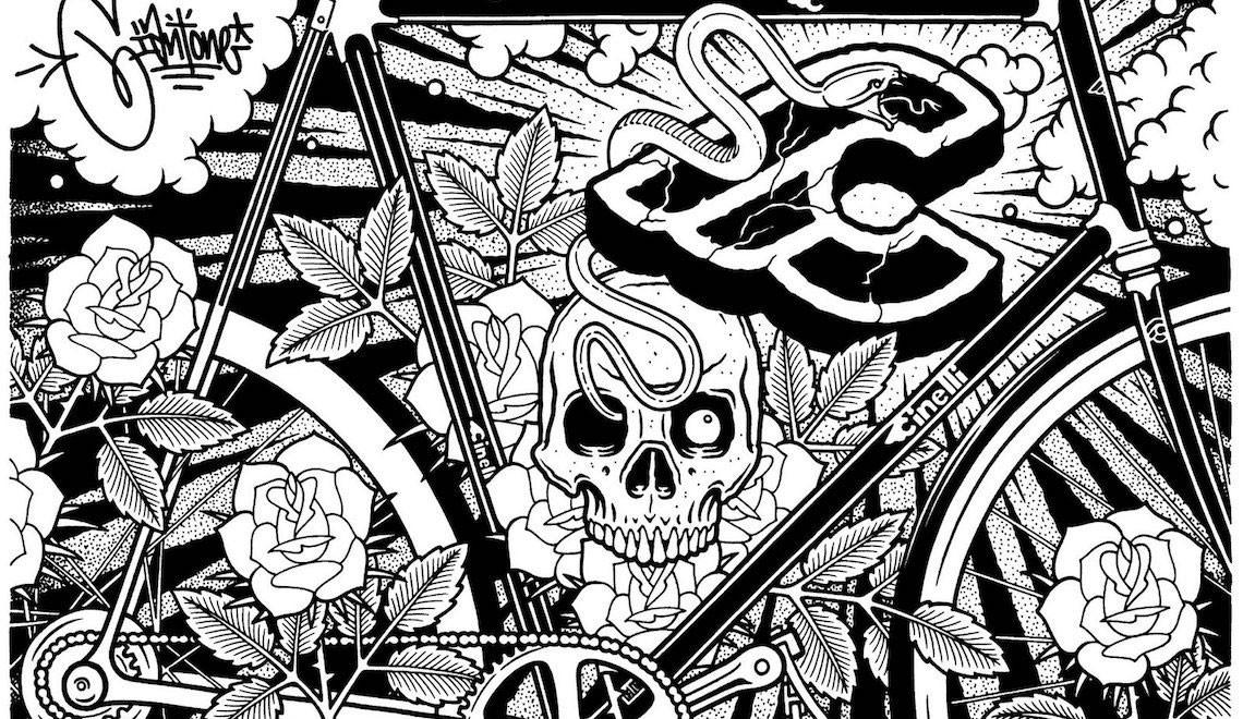 Mike Giant. Graffiti, tattoo, illustrazioni e bici