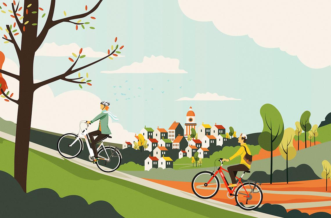 Neil Stevens. Illustrazioni e ciclismo