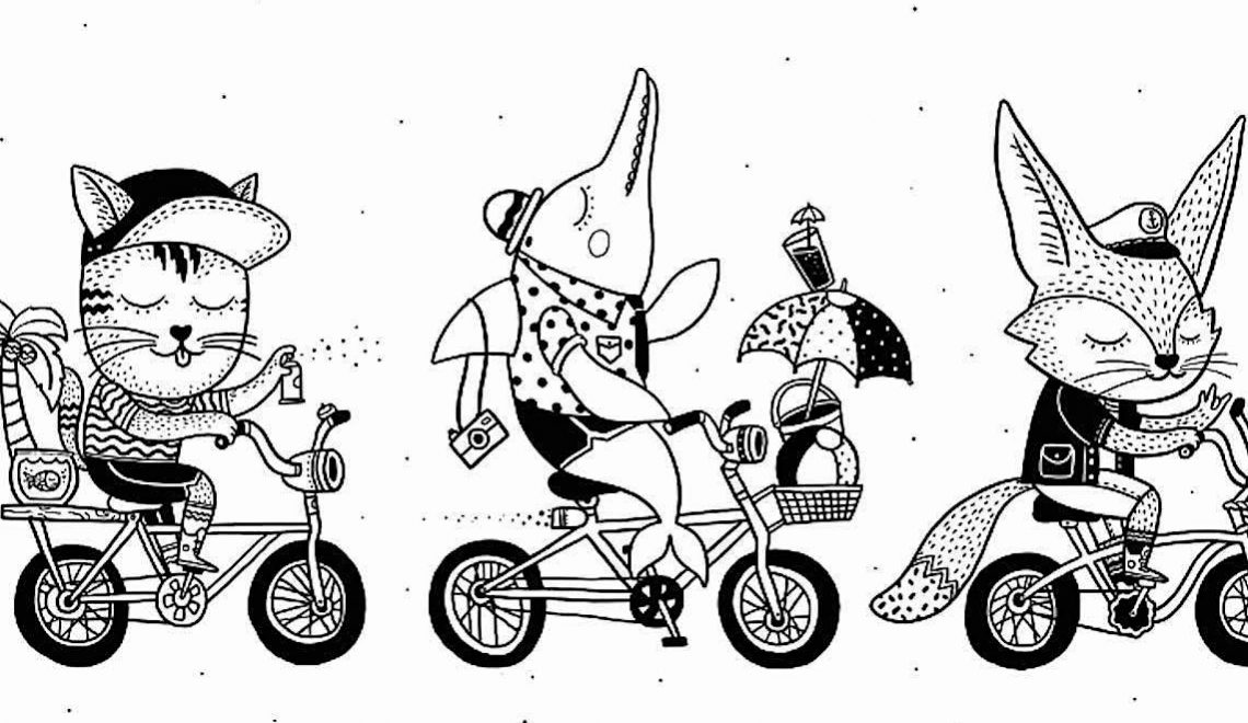 Animals Bicycle Club. Illustrazioni di Alejandro Giraldo