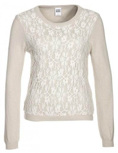 Vero Moda Maglia in misto lana bianco con pizzo applicato www.veromoda.com.  Borsalino ... 041d4bedd8a4