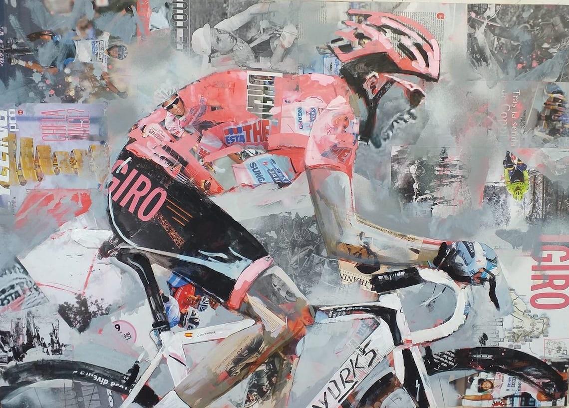 Miguel_Soro_cycling _art_painting_Alberto_Contador