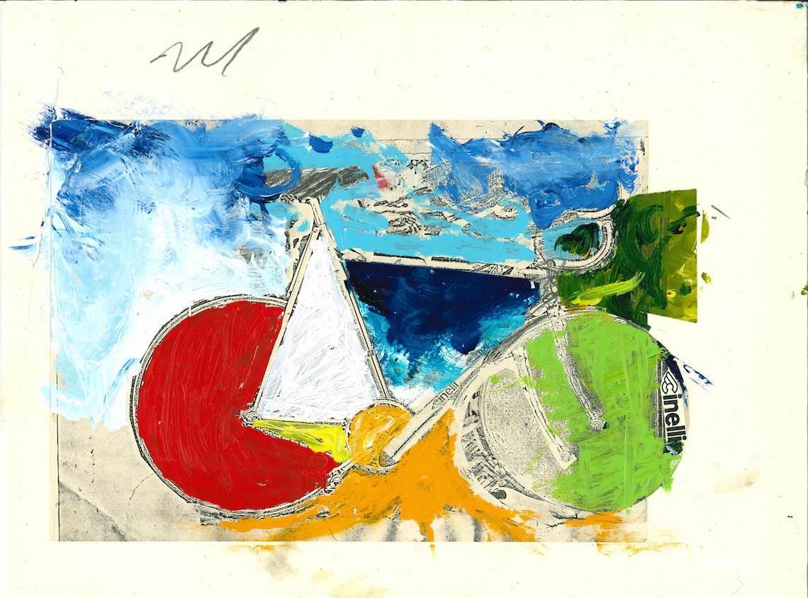 Columbus_Cinelli_Mario Schifano, composizione per serigrafia Granciclismo, Anni Ottanta