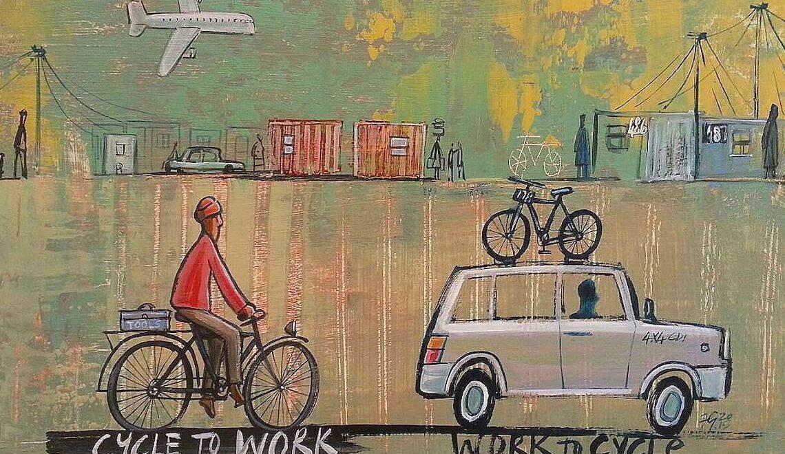 L'arte di Frans Groenewald. Personaggi in bicicletta