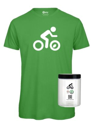 #opendressride_t-shirt_Real Green_002_Ciclista_ bianco_barattolo